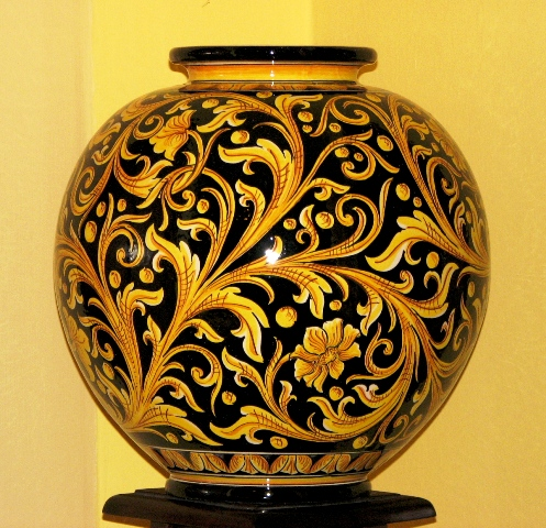 A typical Caltagirone pottery vase