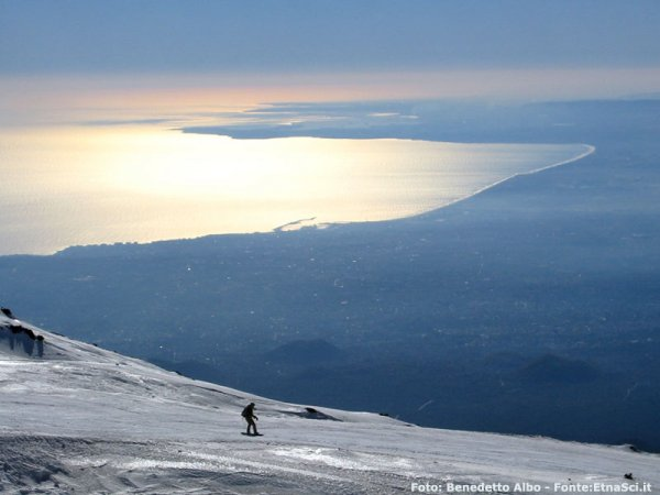 Skiing on Mt. Etna