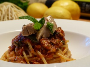 A traditional Pasta with tuna created by chef Ciccio Sultano. source: cicciosultano.it